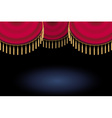 red satin or velvet curtain with lace or thread on vector image vector image