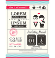 Retro Trendy wedding invitation card template vector image