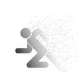 running man icon particle divergent white vector image vector image