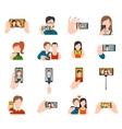 Selfie Icons Flat vector image
