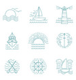 set graphic nautical logos or emblems in line vector image