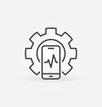 smartphone inside cog outline icon - phone vector image vector image