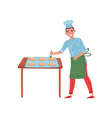 smiling baker cooking buns worker of bakery man vector image