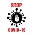 stop covid19-19 logo with molecule