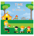 Teacher teach Kids on School Ground vector image