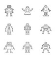 technology robot icons set outline style vector image vector image