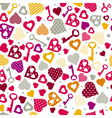 texture with valentine hearts and keys vector image