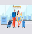 tourists with luggage standing in airport vector image vector image