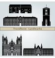 Trondheim landmarks and monuments vector image vector image