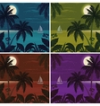 tropical ocean landscape with palm trees vector image vector image