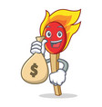 with money bag match stick character cartoon vector image vector image