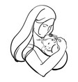 woman with a child logo a young mother with a vector image vector image