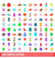 100 dress icons set cartoon style vector image vector image