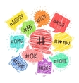 Speech bubbles with hashtags