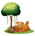 A smiling brown bear lying near the tree vector image