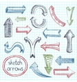 Arrows icon set sketch vector image