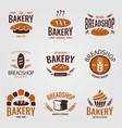 artisan organic bakery logo set vector image vector image