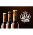 Banner for beer adwertisement with three realistic vector image vector image