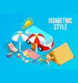 beach vacation clip art isometric style vector image vector image