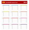Calendar 2014 Spain Type 8 vector image vector image