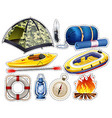 Camping sticker set with tent and sleeping bag vector image