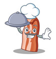 chef with food bacon mascot cartoon style vector image vector image