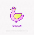chicken thin line icon modern vector image
