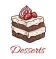Chocolate cake with strawberry and cream sketch vector image vector image