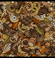 chocolate hand drawn doodles seamless pattern vector image vector image