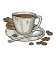 cup coffee and beans color sketch engraving vector image vector image