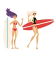 Cute cartoon surf girls hand drawn vector image vector image