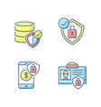 cybersecurity rgb color icons set vector image