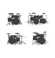 drum kit silhouette set vector image