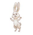 funny bunny jumping and smiling hand-drawn vector image