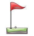 golf hole and flag icon vector image vector image