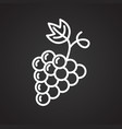 grape line icon on black background for graphic vector image