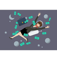 Greedy business woman floating in the space vector image vector image