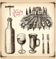 Hand drawn set - wine and winemaking vector image vector image
