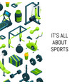 isometric gym background vector image vector image