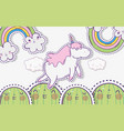 kawaii cactus with unicorn and clouds with rainbow vector image