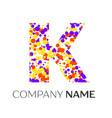 letter k logo with purple yellow red particles vector image vector image