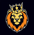 lion in crown mascot vector image vector image