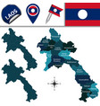 map of laos with named provinces vector image