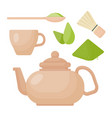 matcha tea flat icon set vector image vector image