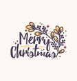 merry christmas lettering written with elegant vector image vector image