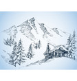 nature in the mountains sketch winter landscape vector image vector image