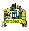 old man happy oktoberfest badge vector image vector image