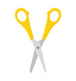 open scissors with yellow plastic handles vector image