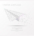 paper airplane shape digitally drawn low poly vector image vector image
