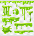 realistic green slime slimy toxic blots goo vector image vector image